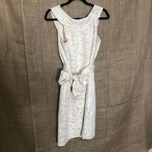 Etcetera Dress SZ 6 Formal Low Back White Gold
